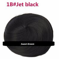 Накладная гулька, накладной пучок из волос, шиньон из синтетических волос, цвет - черный