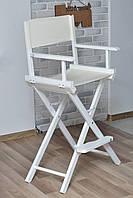 Стул для визажиста деревянный  белый W(кресло визажиста)