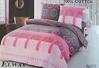 Сатиновое постельное белье евро ELWAY 5017