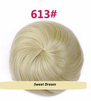 Накладная гулька, накладной пучок из волос, шиньон из синтетических волос, цвет 613 - блонд