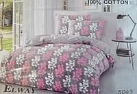Сатиновое постельное белье евро ELWAY 5043