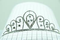 Высокая фигурная корона в кристаллах. Эффектная бижутерия для волос оптом. 105