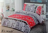 Сатиновое постельное белье евро ELWAY 5002