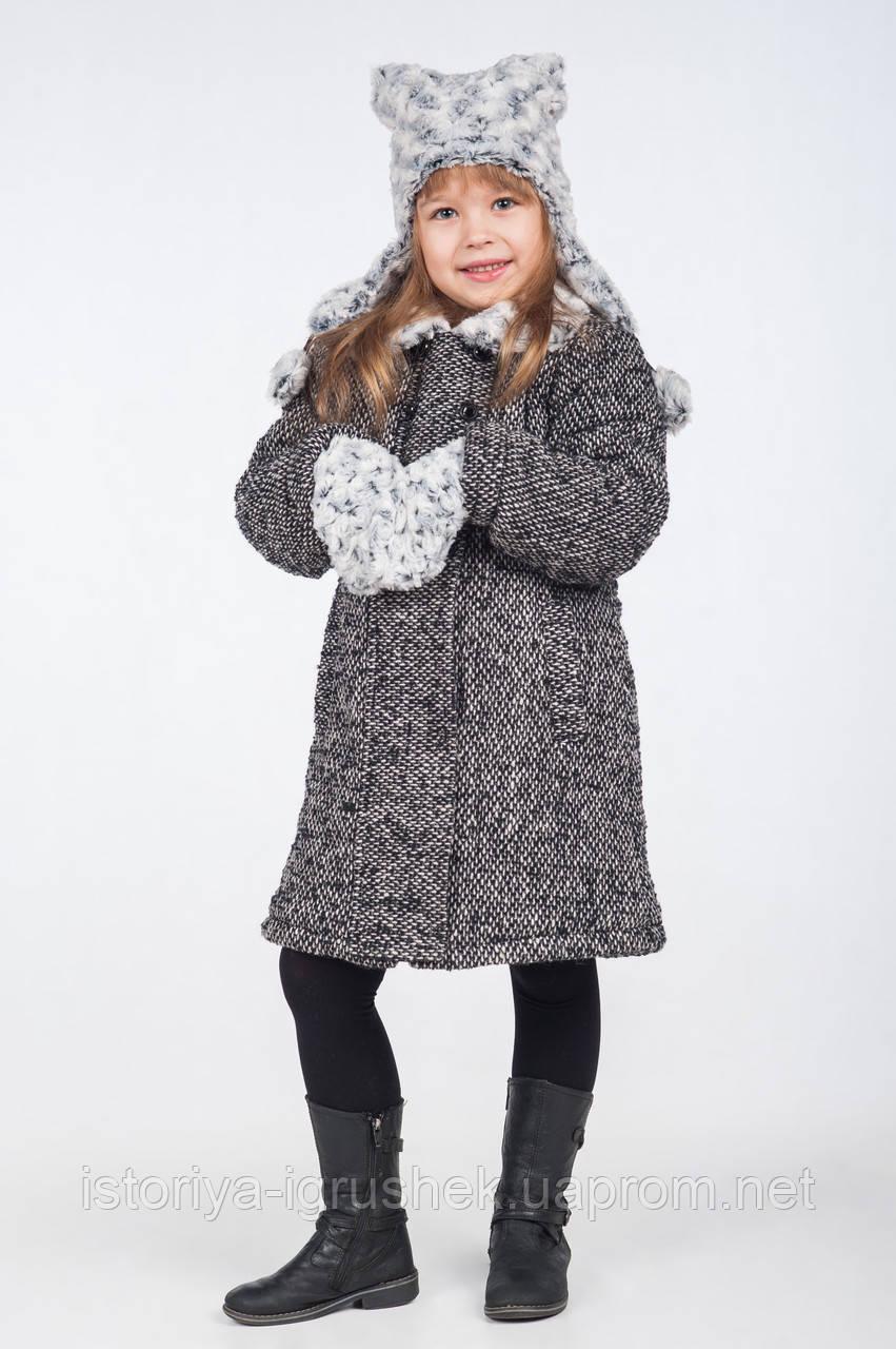 Пальто зимнее на девочку из шерстяной ткани К-117