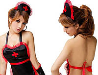 Сексуальный костюм МЕДСЕСТРА черный, костюм для ролевых  игр, S-M