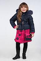 Зимнее пальто для девочки от 6-10 лет, на халлафайбере К- 108