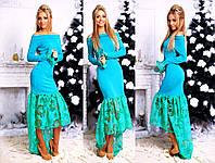 """Элегантное длинное вечернее платье 139 """"Кармен Оборка Органза Цветы"""" в расцветках"""
