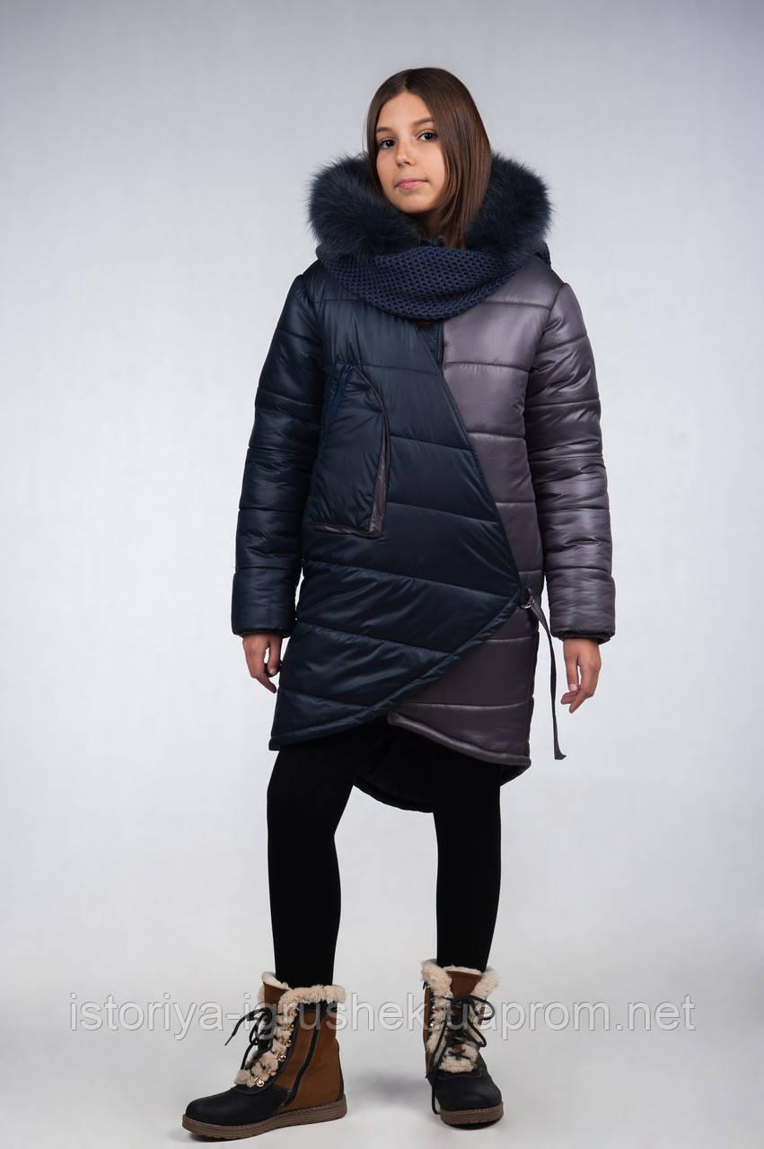 Пальто зимнее из плащевой стеганной ткани для девочки подростка К-116