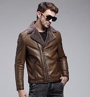 Мужская зимняя кожаная куртка. Модель 1050