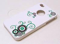 Чехол пластиковый белый матовый со стразами для iPhone 4/4s