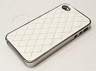 Чехол пластиковый белый со строчкой под кожу для iPhone 4/4s