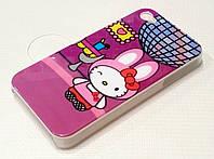 Чехол детский пластиковый розовый зайчик для iPhone 4/4s