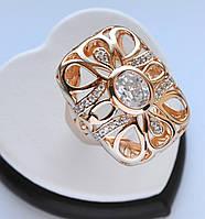 Шикарное кольцо-перстень позолота с белыми цирконами 19 размер