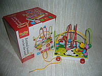 Деревянные игрушки Лабиринт-каталка коровка