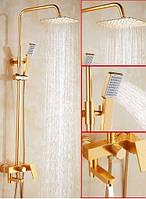 Душевая стойка со смесителем лейкой и верхним душем золото в ванную комнату, фото 1