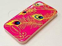 Силикон c рисунком iphone 4/4s розовый перья павлина