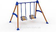 Гойдалки дитячі подвійні на жорсткій підвісці для майданчика
