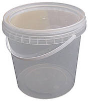 Ведро пластиковое пищевое 1,1 литра с крышкой