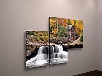 Фотокартина модульная природа водопад