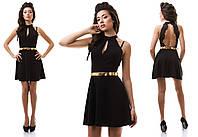 Черное коктейльное платье с открытой спиной