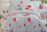 Сатиновое постельное белье евро ELWAY 5039