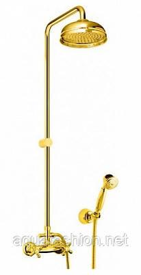 Душевая система с тропическим душем золотого цвета Fiore Италия
