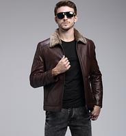 Мужская зимняя кожаная куртка. Модель 1051