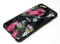 Чехол силиконовый с рисунком цветы черный для iPhone 6/6s