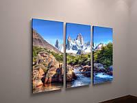 Картина модульная печать на холсте Природа Красивый пейзаж Горы Горная долина Горная река 90х60 из 3х частей