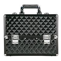 Алюминиевый кейс для косметики,черный, текстурный