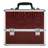 Большой алюминиевый кейс на 6 полок, цвет - бардовый, под кожу крокодила , фото 1