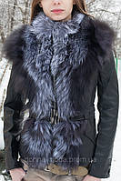 Кожаная куртка женская со съемными рукавами..