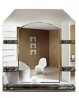 Зеркало в ванную шестиугольное + 5 полочек (79х70 см)