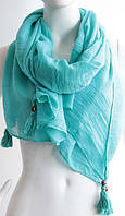 Современный легкий женский шарф с кистями 180 на 85 dress W773_голуб
