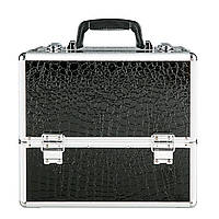Большой алюминиевый кейс раскладной, цвет - черный кожа крокодила, фото 1