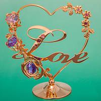 """Сувенирные статуэтки с кристаллами и стразами Сваровски """"Любовь и цветы"""" в сиреневых тонах"""