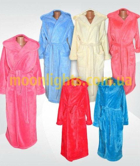 Банный халат женский длинный, плюшевая махра, Турция от 44 до 58 размера