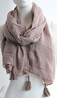 Великолепный легкий женский шарф с кистями 180 на 85 dress W773_кофе