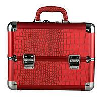 Эксклюзивный алюминевый кейс для косметики с выдвижными полками, цвет - красный ,кожа крокодила.