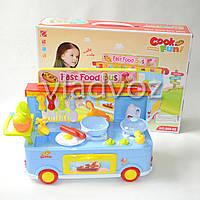 Детская кухня, плита 2 комфорки голубая Fast food Bus на колесах
