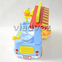 Детская кухня, плита 2 комфорки голубая Fast food Bus на колесах, фото 3