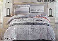 Сатиновое постельное белье евро ELWAY 5031
