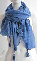 Обворожительный легкий женский шарф с кистями 180 на 85 dress W773_син