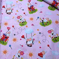 Хлопковая ткань с влюбленными овечками на розовом фоне №393