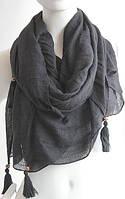 Чудесный легкий женский шарф с кистями 180 на 85 dress W773_черн