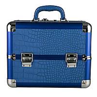Эксклюзивный алюминиевый кейс для косметики с выдвижными полками, цвет - синий ,кожа крокодила., фото 1