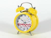 Настольный будильник желтый Сердечки