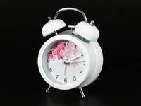 Белый будильник с цветами