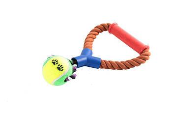 Игрушка канат-грейфер для собак FOX с петлей, пластиковой ручкой и мячом теннисным, 25 см