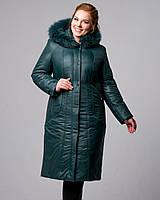 Пальто плащевое зимнее, 52-62р, изумруд